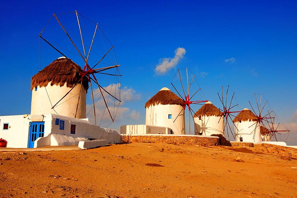 The traditional Greek windmills of Mykonos Chora Cyclades Islands, Greece