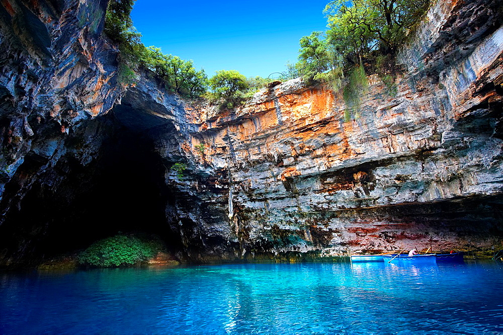 The Lake Melissani inland cave with sea water, Kefalonia, Ionian Islands, Greece