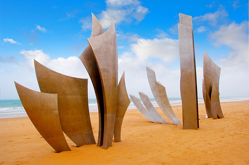the Brave Men scupture in the sand at Omaha D Day landing beach, Normandy, France