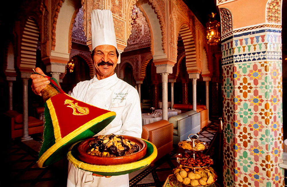 Traditional tajine dish, luxury hotel La Mamounia, built with the best traditional materials, Marrakech, Morocco - 817-26692