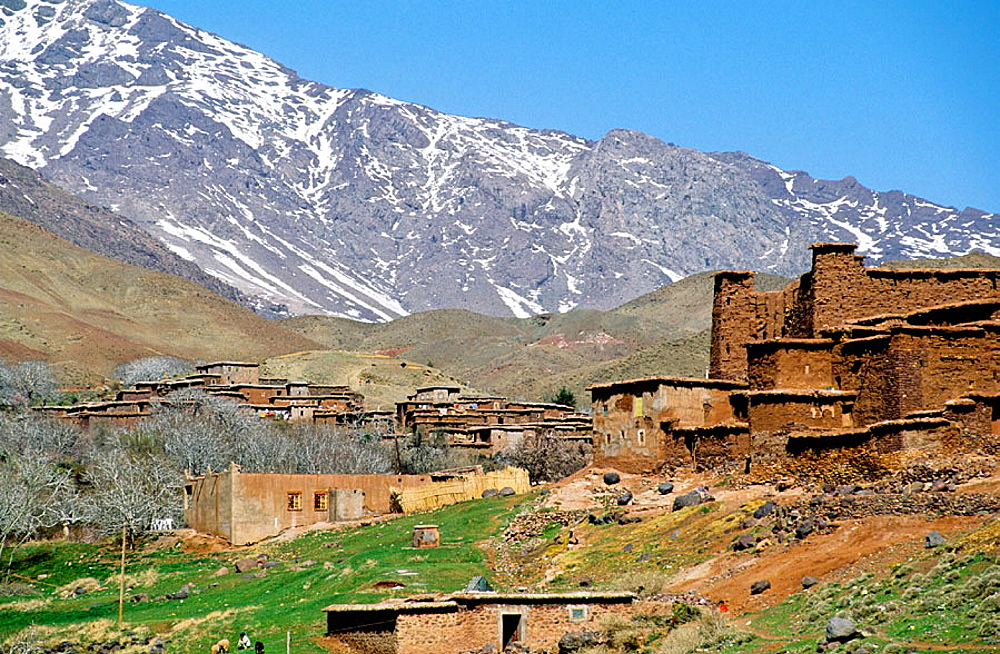 Berber village in the Atlas mountains, South, Ouarzazate region, Morocco.