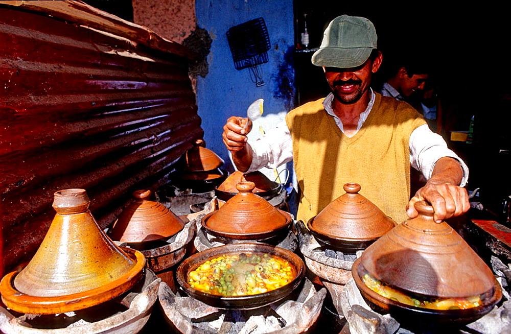 Ait Ourir tuesday souk, Tajine dishes at the mobile restaurant, South, Ouarzazate region, Morocco.
