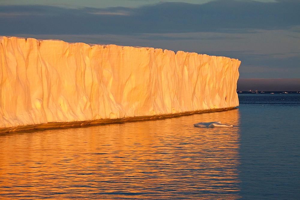 glacier Brasvellbreen and ice floes in sunset light, Nordaustlandet, Svalbard