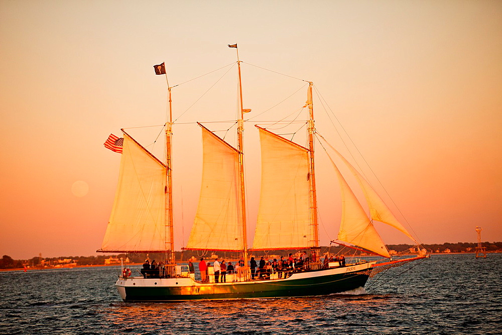 Schooner Pride sunset cruise of the harbor in Charleston, SC