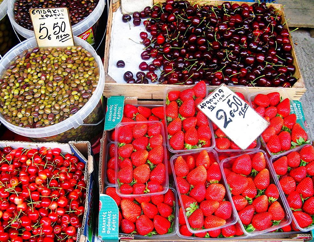 Greece, Crete Fresh Fruit and Olives, Iraklion outside market