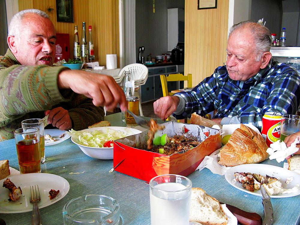 Lunchtime in a Cretan Kafeneio Galatas Village, Crete, Greece