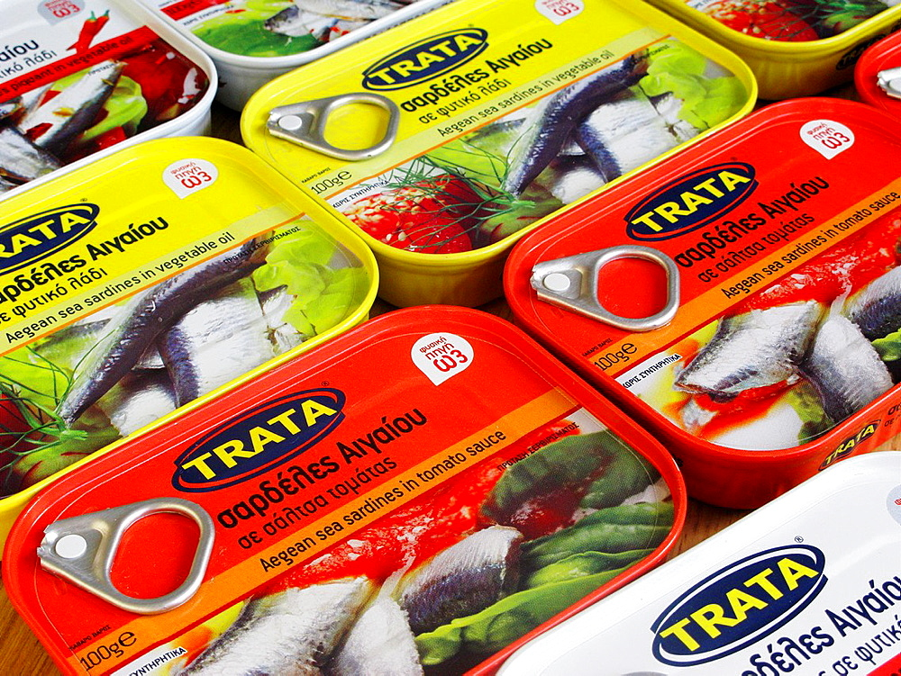 Greek Food Tins of Aegean Sea Sardines