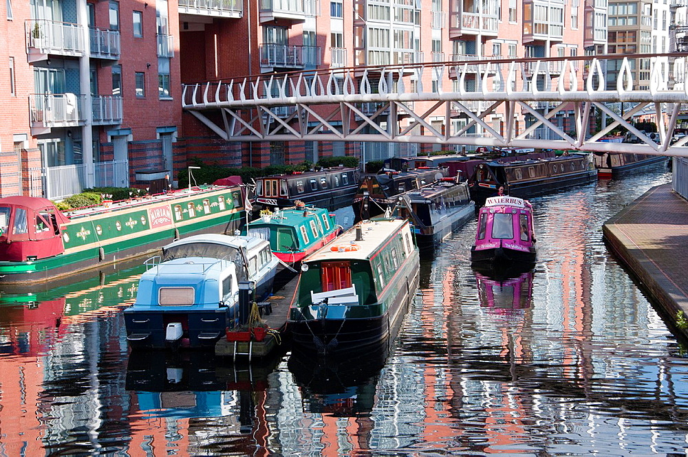Apartment complex over the canal at King Edwards Wharf in Birmingham, UK