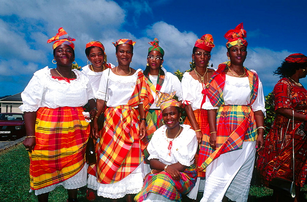 Sunday mass in Sainte-Marie with ladies dressed in traditional attire, Martinique, Caribbean, France