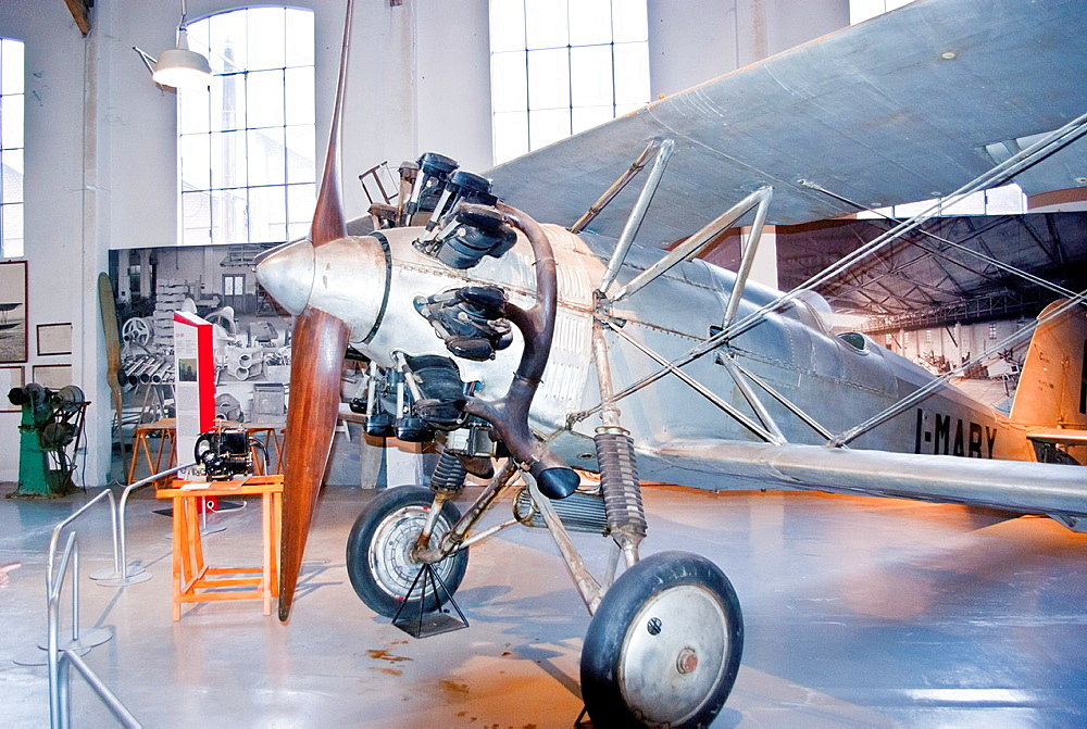 Caproni Ca.113 training biplane in the Volandia Museum of Flight, Varese, Lombardy, Italy