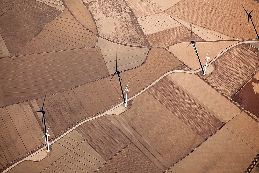 Fields of wind farms seen from the sky on farmland - 817-269249