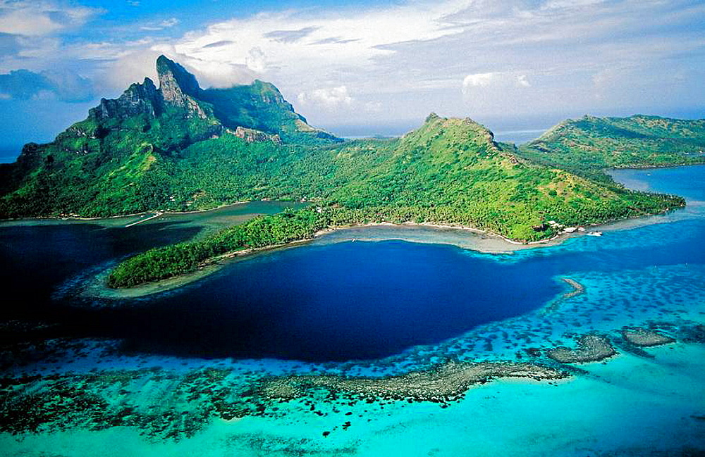 Aerial of Bora-Bora in the Leeward islands, Society archipelago, French Polynesia