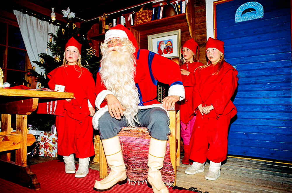 Santa Claus in his home with elfs, Rovaniemi, Lapland, Finland in winter, Scandinavia