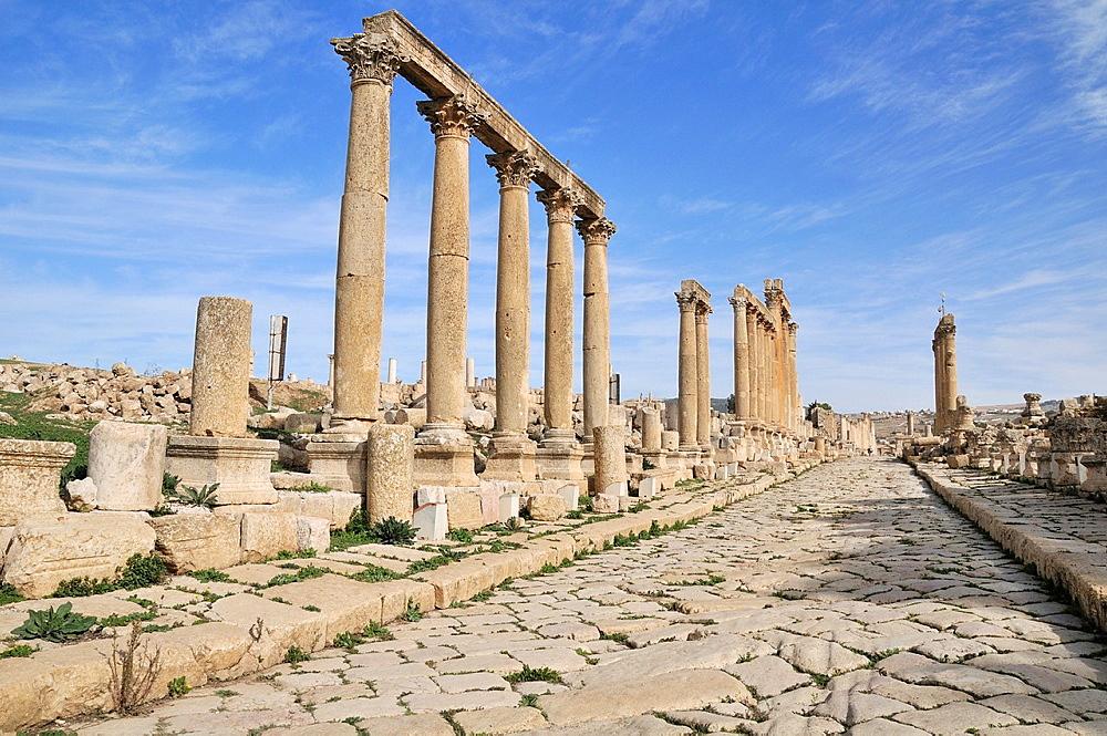Cardo Maximus column street in Jerash, Jordan