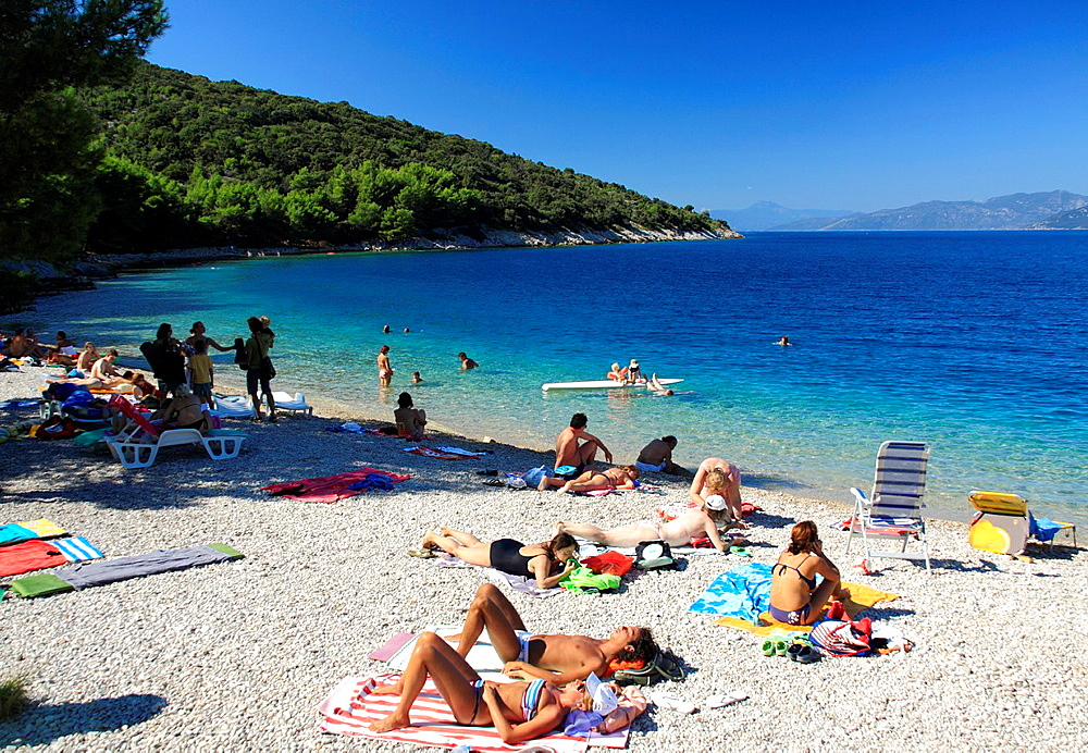 Beach in Valun village on Cres Island, Croatia