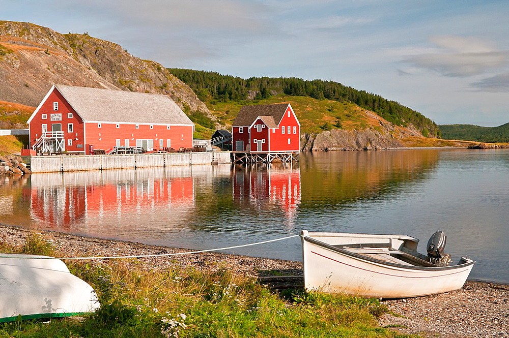 Rising Tide Theatre Arts Centre reflected in Trinity Bay, Trinity, Newfoundland and Labrador, Canada