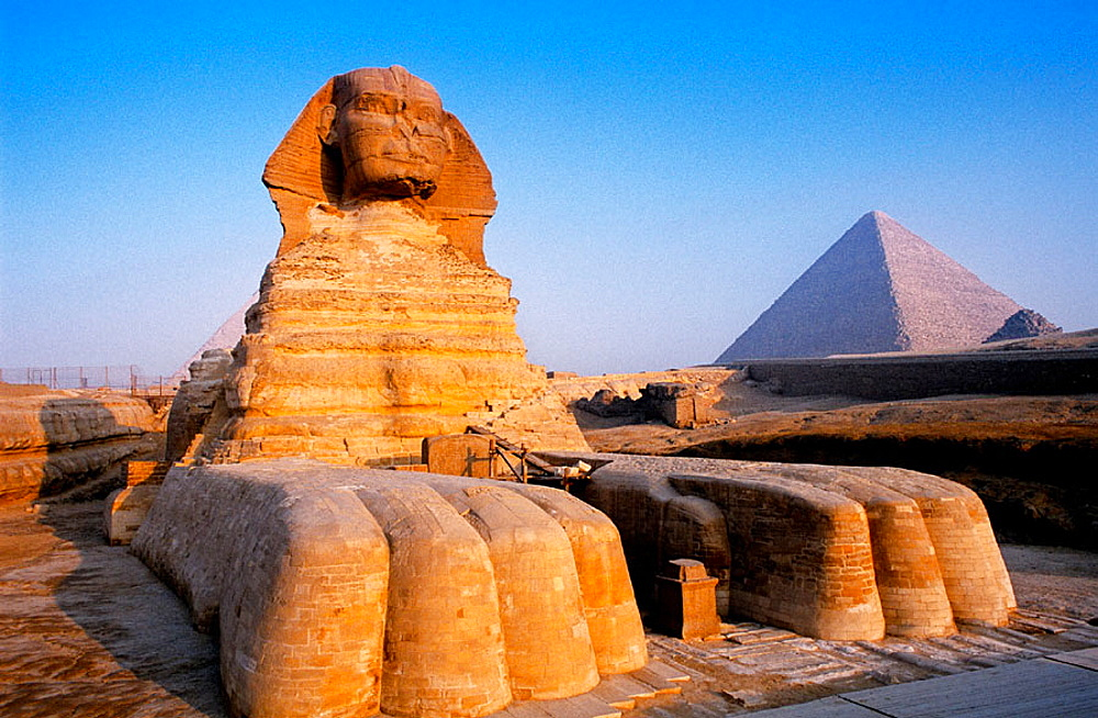 The sphinx in the pyramids area, Gizeh (Cairo suburbs), Egypt