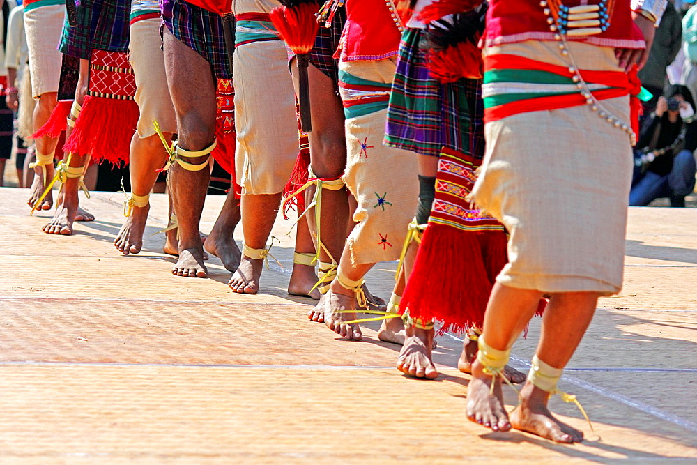 Nocte warrior tribes, with traditional Wear performing dance at Namdapha Eco Cultural Festival, Miao, Arunachal Pradesh, India
