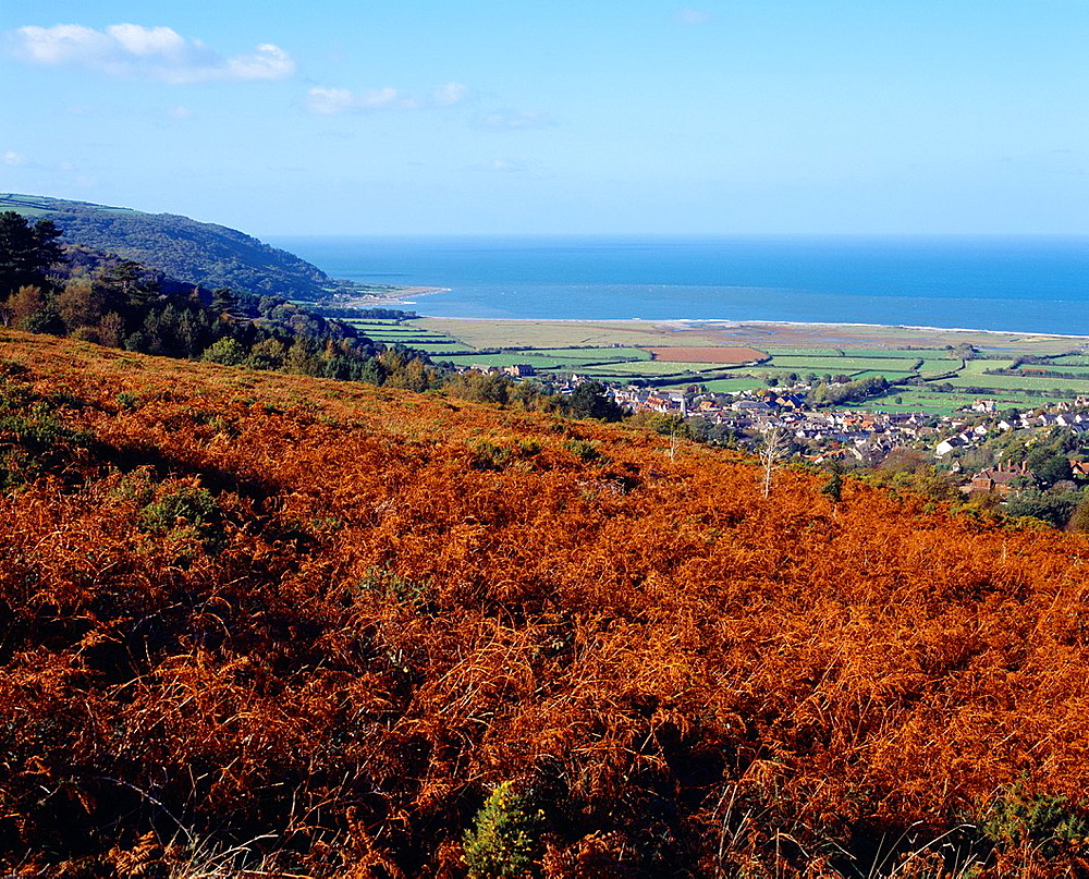 The village of Porlock and the Bristol Channel viewed from Crawter Hill in Exmoor National Park, Somerset, England, United Kingdom
