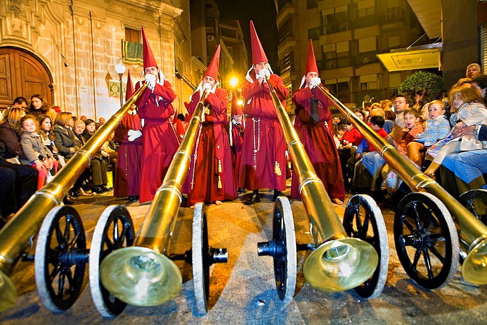 Bocinas Easter Monday procession Cofradia del Santisimo Cristo del Perdon Holy Week Murcia Spain - 817-274029