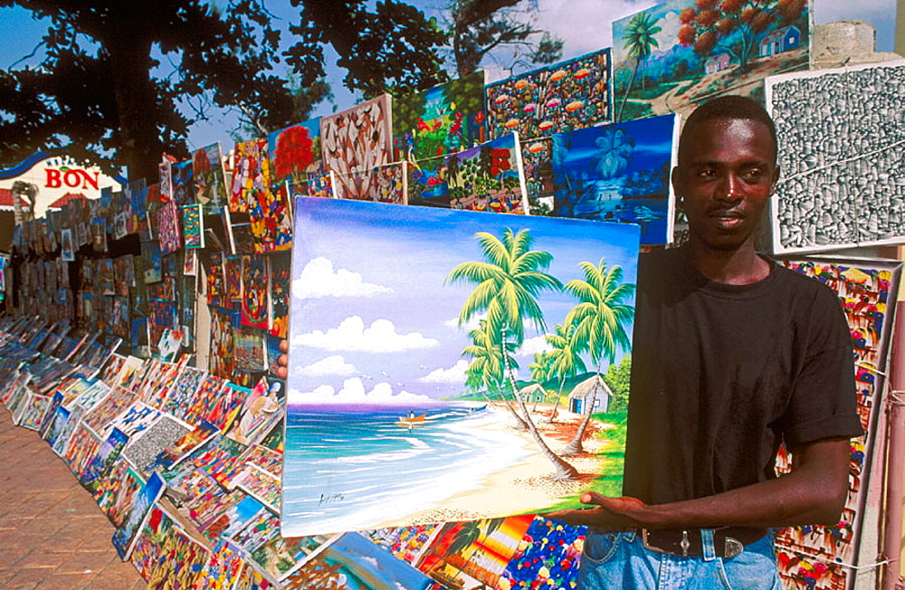 Naive paintings, Santo Domingo market, Dominican Republic