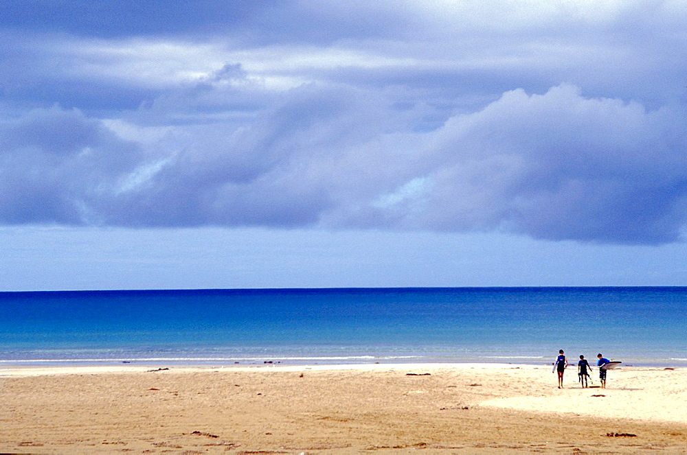 Vast expanse of open beach along the southern Australian coastline with three surfies seen in the distance enjoying the freedom af the wide open spaces