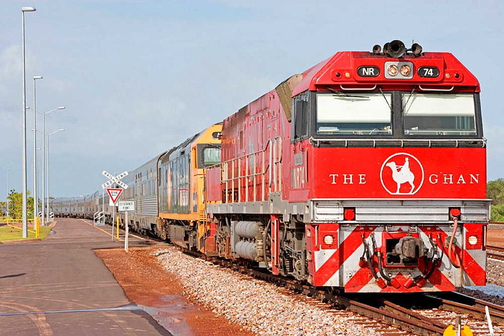 The Ghan (train going from Darwin to Adelaide through Australia along a 3000 km railroad), Departure station, Darwin, Northern Territory,  Australia