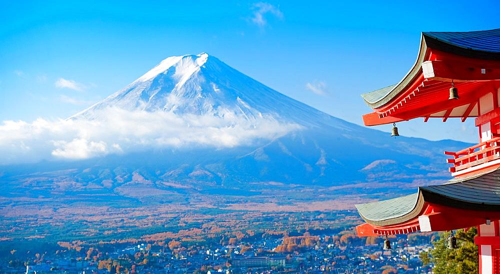 Pagoda overlooking Mount Fuji and Fujiyoshida city, Japan - 817-276424