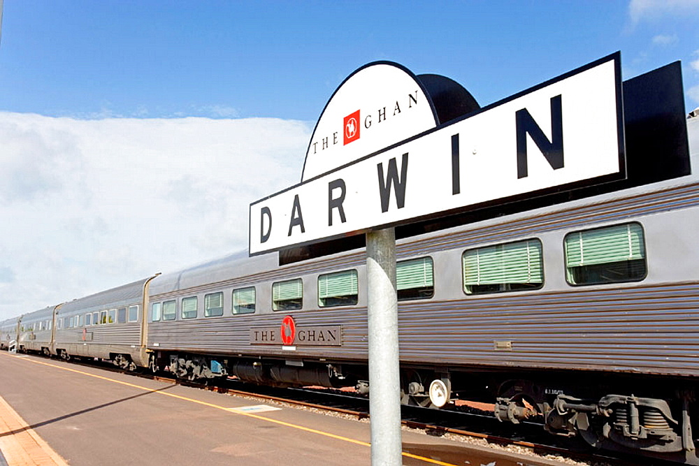 The Ghan (train going from Darwin to Adelaide through Australia along a 3000 km railroad) , Departure station, Darwin, Northern Territory,  Australia