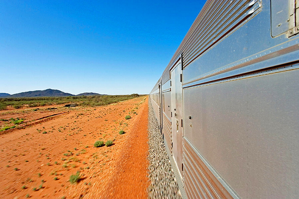 The Ghan (train going from Darwin to Adelaide through Australia along a 3000 km railroad), Departure station, Darwin, Northern Territory,  Australia.