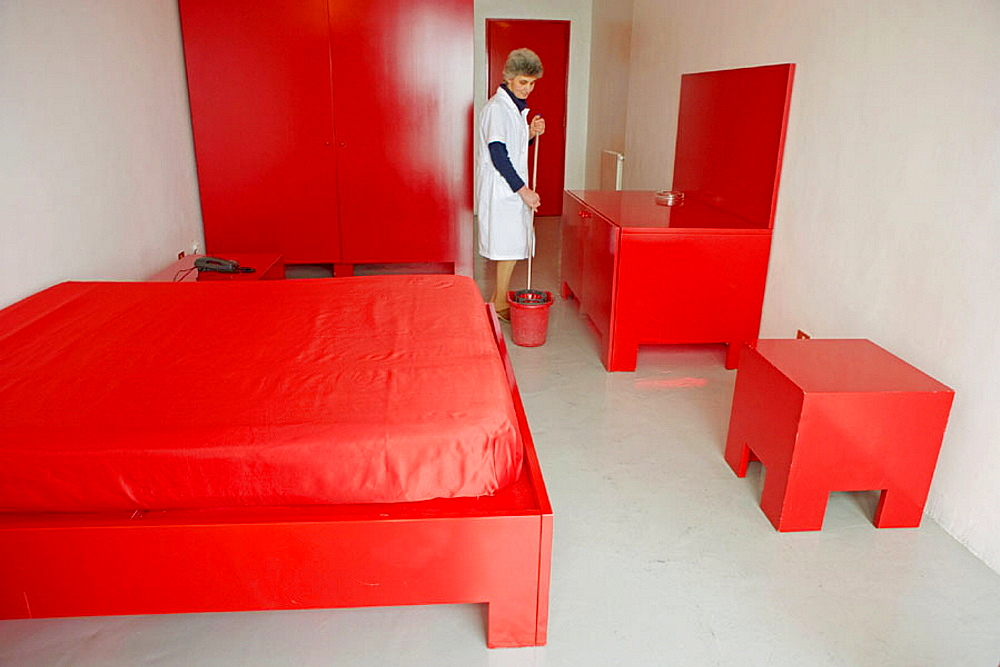 Atelier Sul Mare hotel-museum of contemporary art founded by Antonio Presti: the rooms have been decorated by 15 different renowned artists, Castel di Tusa, Sicily, Italy - 817-27673