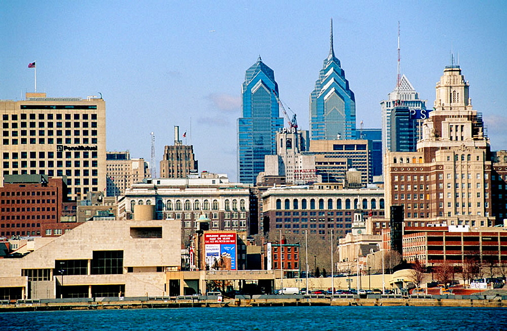 Skyline view from the Delaware river, Philadelphia, Pennsylvania, USA