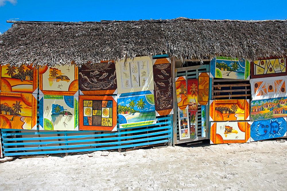 Naive paintings, Saona island, Dominican Republic, West Indies, Caribbean