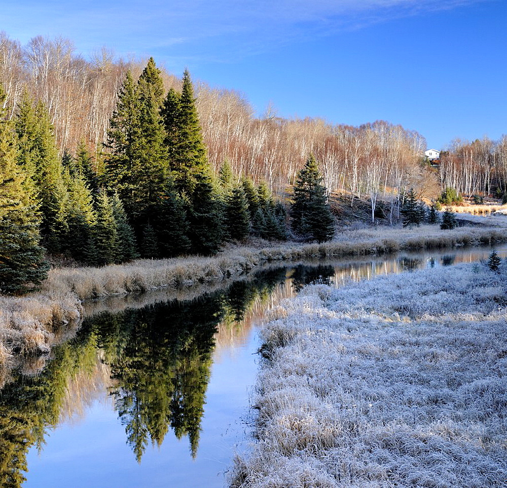Junction Creek with morning frost in early winter