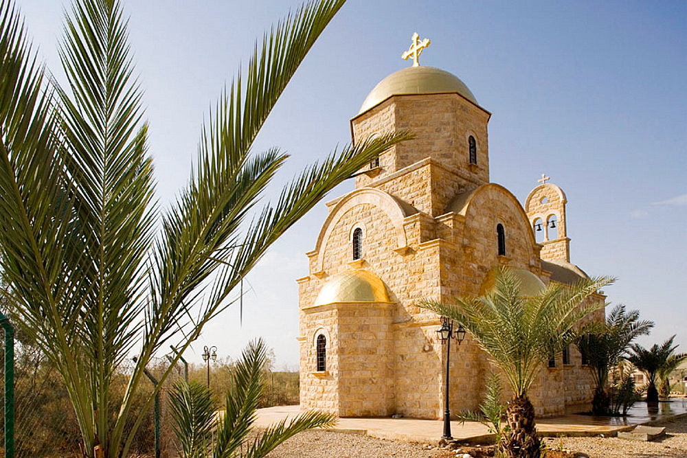 Greek orthodox church erected in 2003 (priest father Georgos Smair), Site of Bethany on the Jordan river, where Saint John is supposed o have baptised Jesus, Kingdom of Jordan.