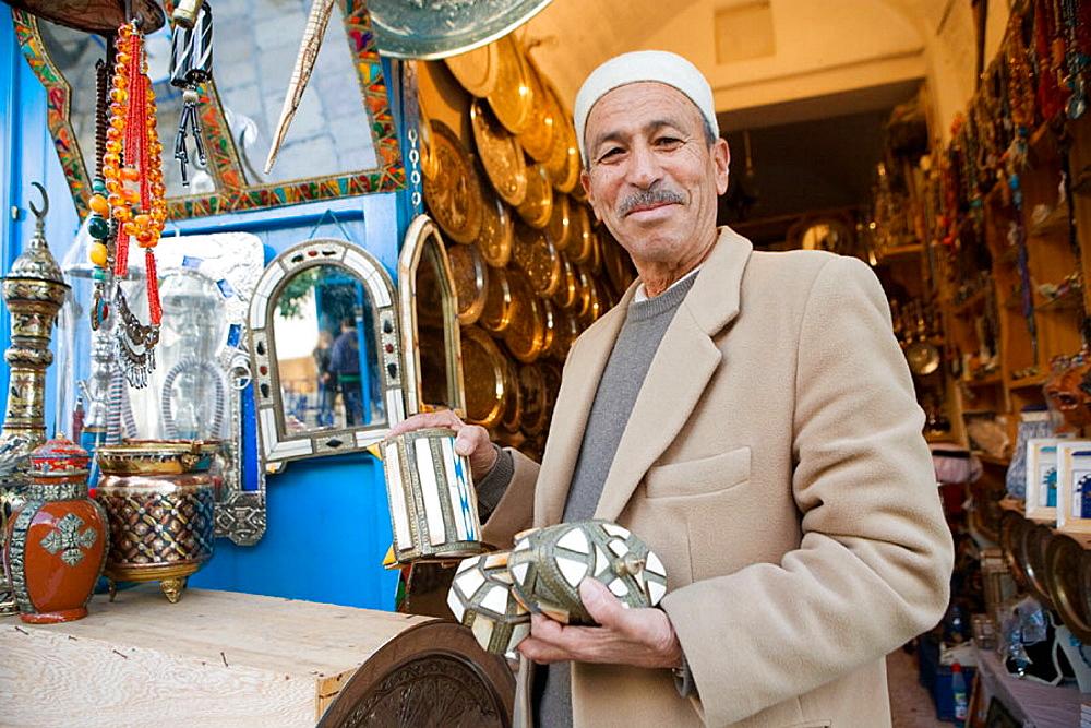 Mr Mahmoud craft seller, Village of Sidi Bou Said near Tunis, Tunisia