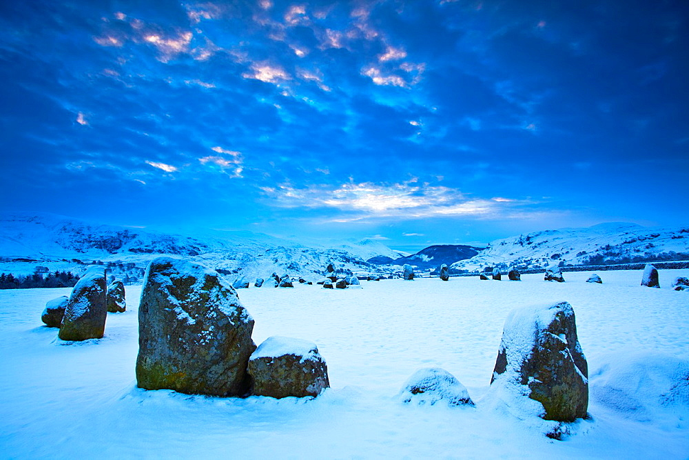 England, Cumbria, The Lake District The popular Castlerigg Stone Circle near Keswick, dating back from the later Neolithic period