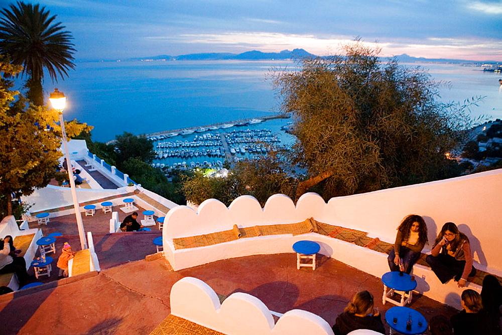 Cafe Sidi Chebaane at night, Village of Sidi Bou Said near Tunis, Tunisia