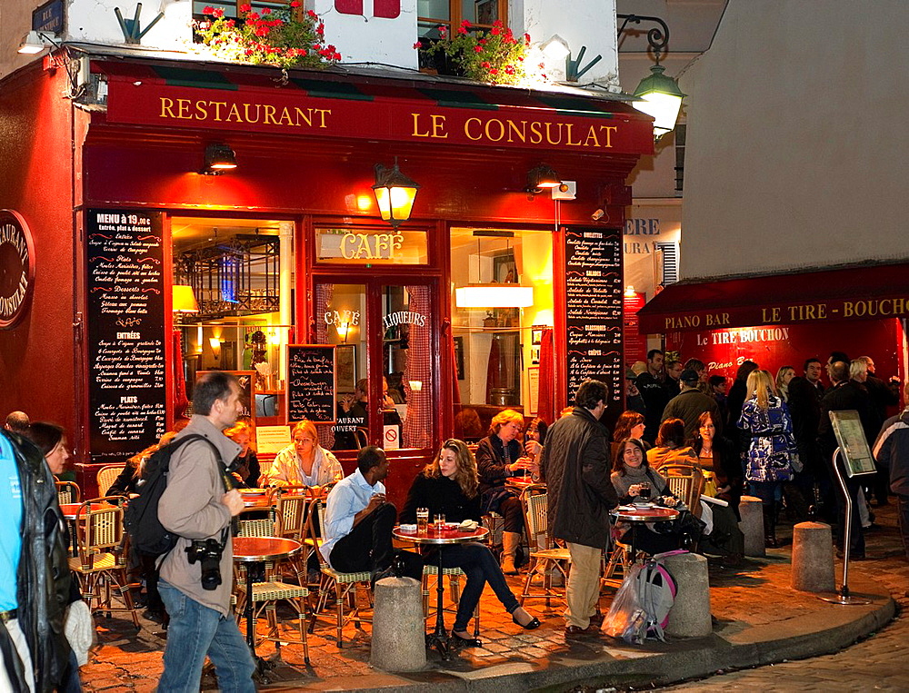 Paris, France, Street Scene, People Sharing Drinks in French Bistro Cafe Restaurant, in Montmartre District, Night