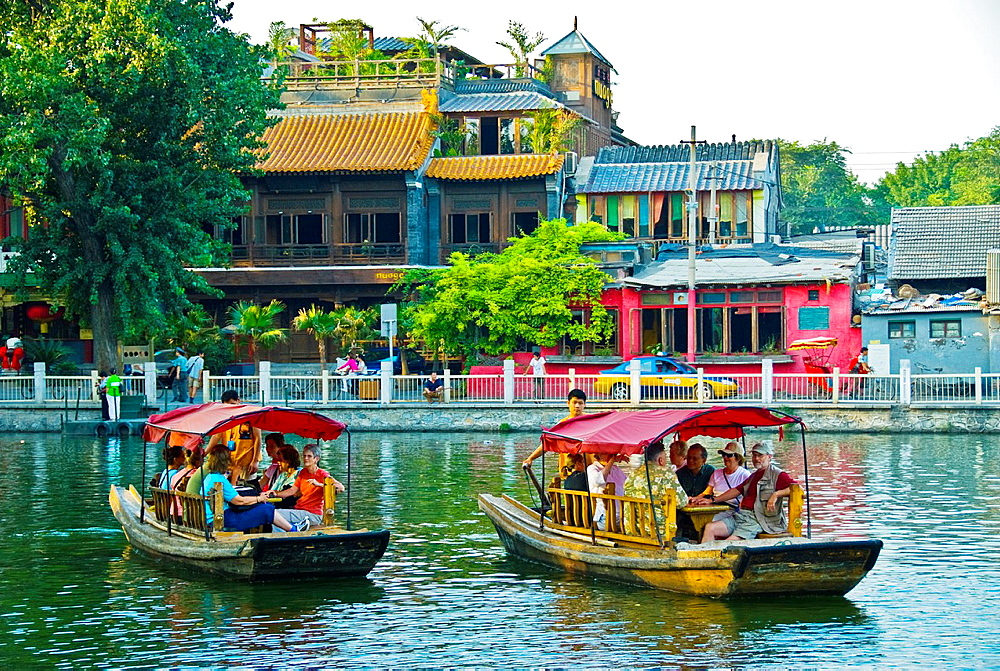 Beijing, CHINA, Old Traditional Neighborhood, the Houhai North Lakes, Hutong, with Tourist Boats