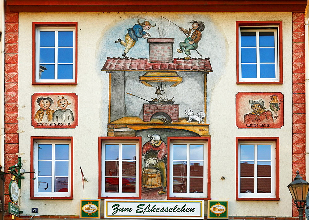 Germany, Koblenz, Germany, Koblenz, Rhine, Moselle, Maifeld, Eifel, Hunsrueck, Westerwald, Rhineland-Palatinate, old town, public house Max und Moritz, house facade, facade painting, mural painting, frescoes, humour, tricks, rascals, Max and Moritz, widow Bolte, literature, book author Wilhelm Busch, UNESCO World Heritage Site Oberes Mittelrheintal, Upper Middle Rhine
