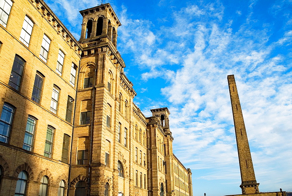 Salt Mill SALTAIRE WEST YORKSHIRE Titus Salts Old mill buildings and chimney