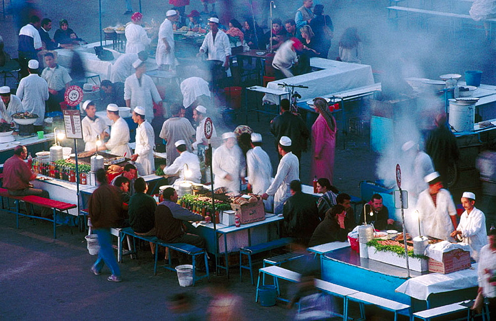 Food stalls in Jemaa El-Fna square, the liveliest place night and day in Marrakech, Morocco