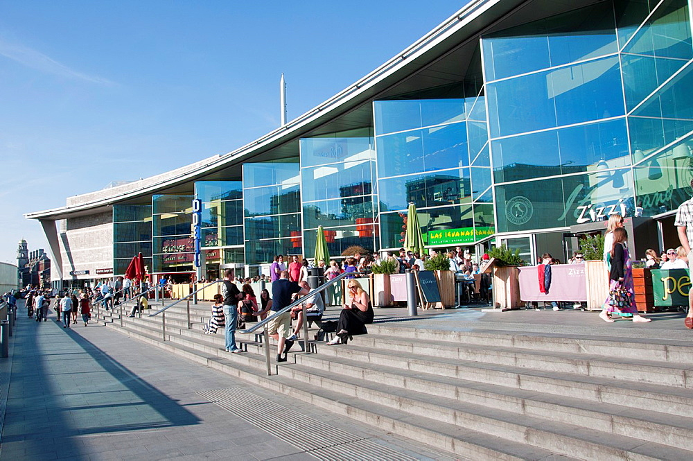 Shops and cafes in Liverpool One shopping and Leisure complex Liverpool England