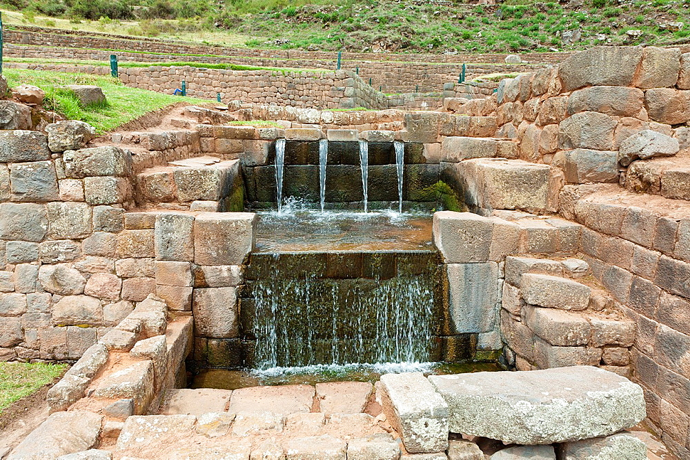 Inca fountains at Tipon ruins Comunidad de Choquepeda, 27km southeast of Cusco, Peru