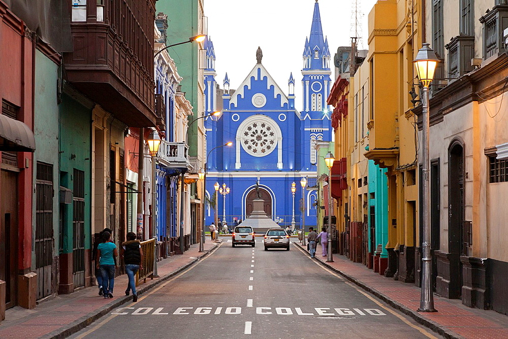 View down Calle Camana towards Iglesia La Recoleta church in Lima, Peru - 817-288901