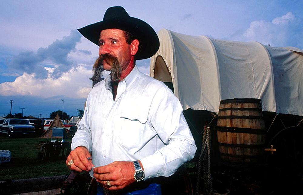 Al Johansson, cowboy with a famous moustache, Fort Worth, Texas, USA.
