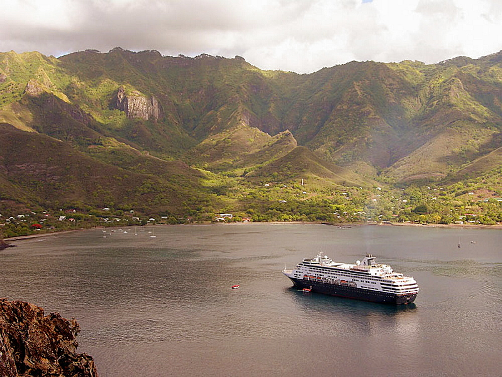 Cruise ship moored in the Taihoae bay, Nuku Hiva island, Marquesas archipelago, French Polynesia