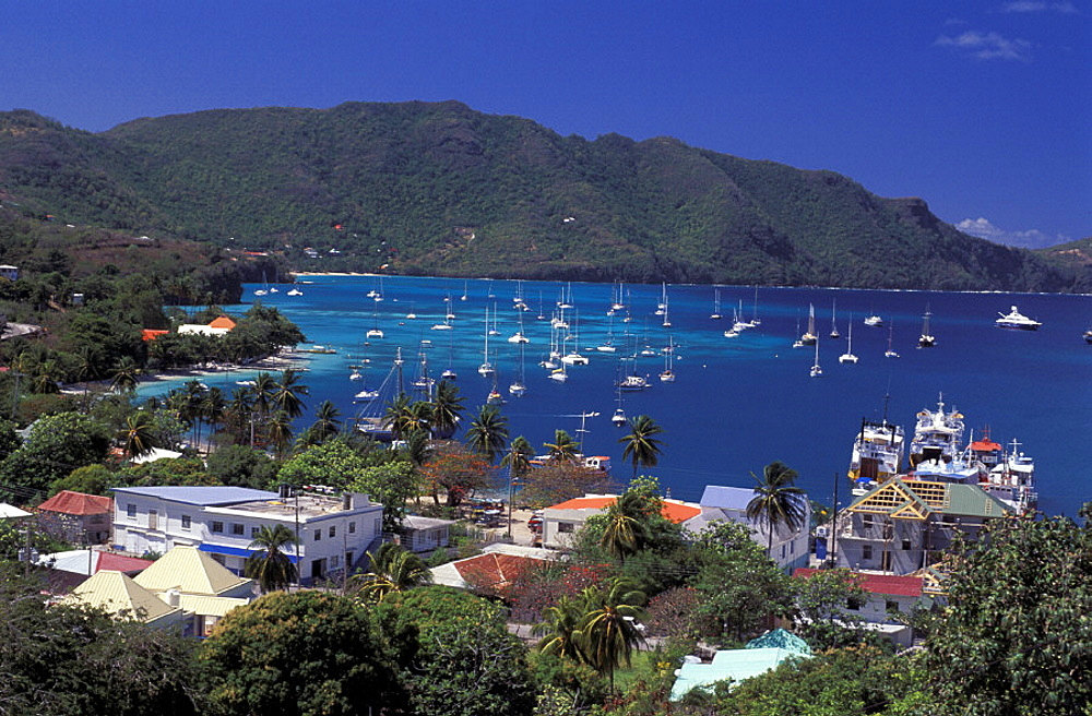 Admiralty Bay, bay, Bequia, coast, Grenadines, homes, houses, Port Elizabeth, sail boats, scenery, landscape, sea, C. Admiralty Bay, bay, Bequia, coast, Grenadines, homes, houses, Port Elizabeth, sail boats, scenery, landscape, sea, C