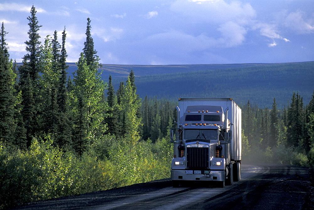 Canada, North America, America, Dempster Highway, scenery, landscape, street, transport, truck, wood, Yukon. Canada, North America, America, Dempster Highway, scenery, landscape, street, transport, truck, wood, Yukon